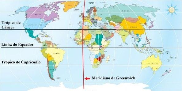 Meridiano de Greenwich Mapa
