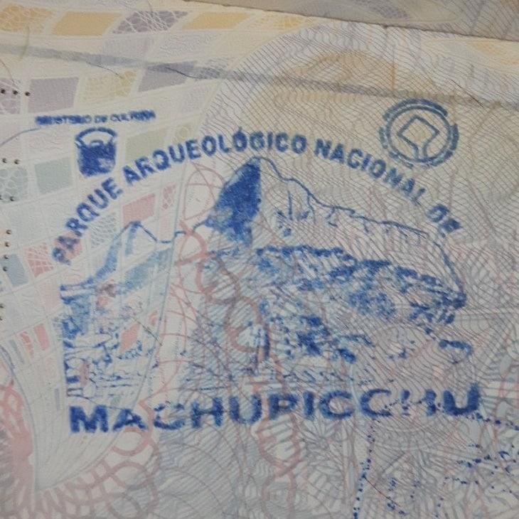 Carimbo no passaporte Machu Picchu