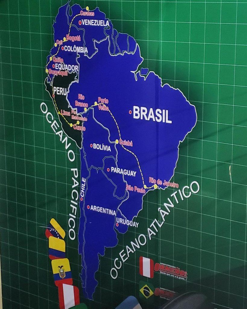 Mapa Onibus america do sul